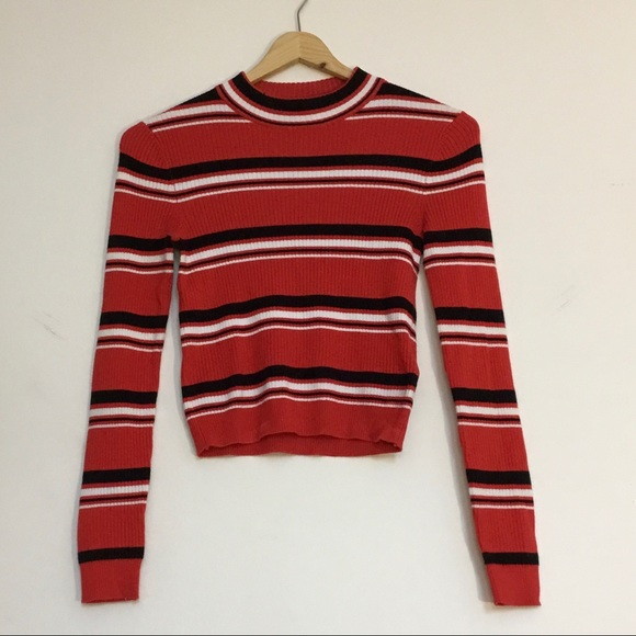 H&M red-orange, black & white stripe, mock neck xs